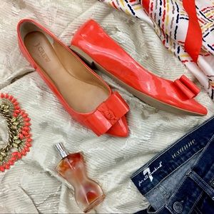 J. Crew- Pointy Bow Flats In Orange !